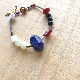 [Cat and Mice Beads Beads] bracelet collection - Natural Stone Series 005 (Lapis)