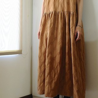 Daily hand-made clothes retro warm orange weaving water jade wide dress linen cotton