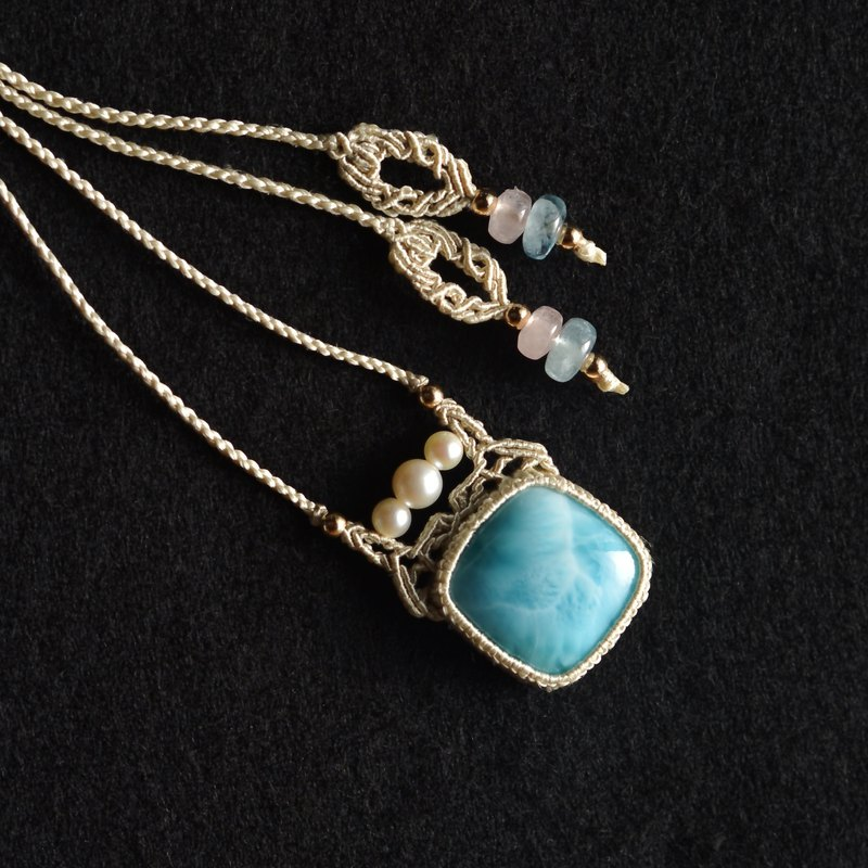 Larimar / Silk Macrame Necklace