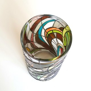 Glass art glass vase   Retro Round medium