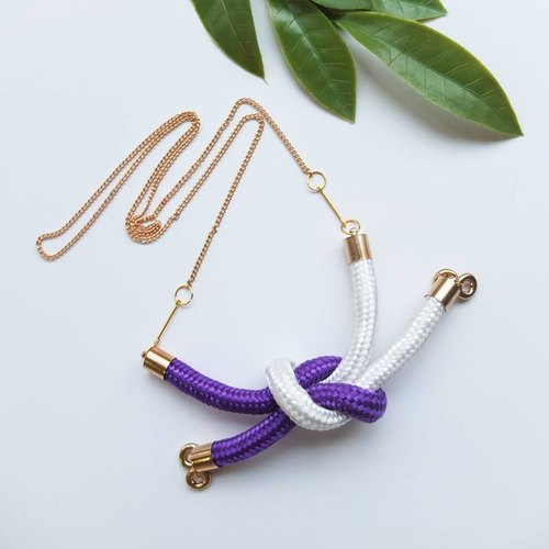 Square Knot Necklace - Purple/White