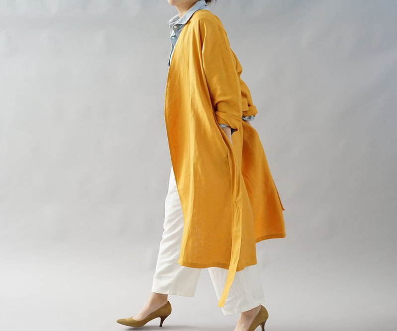 Belgian Linen Drop Shoulder Gown Coat / Indian Yellow b22-24