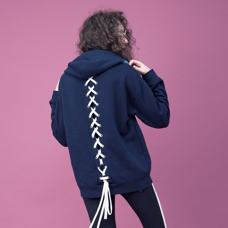 UNISEX LACE-UP BACK HOODIES
