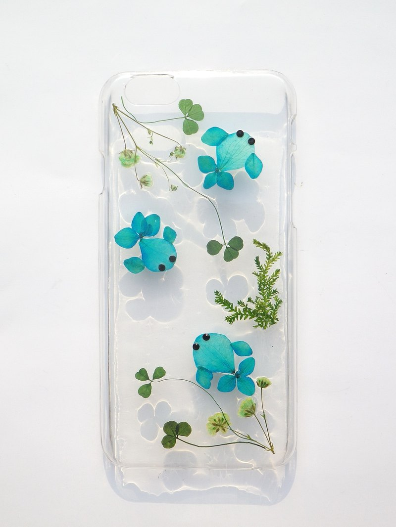 Handmade phone case, Pressed flowers phone case,  the little fish