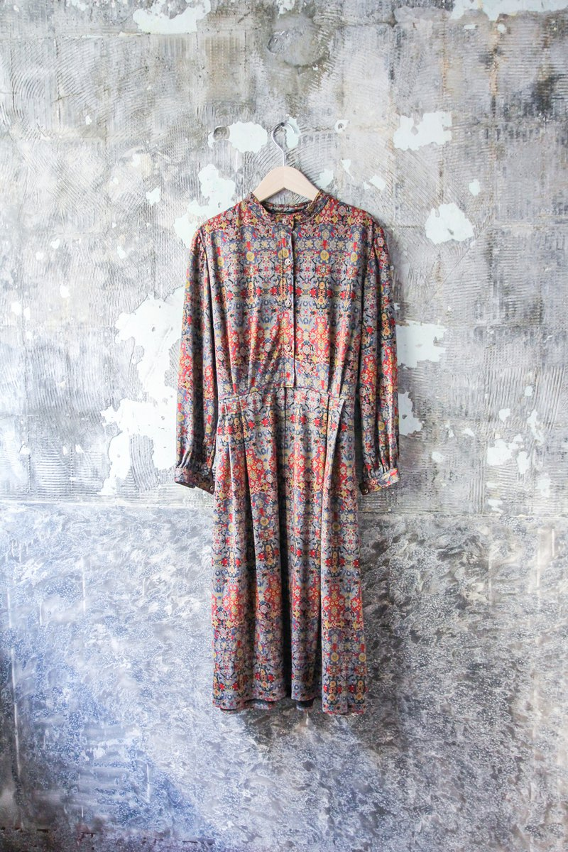 袅袅 Department Store-Vintage Small Turtleneck Brick Long Sleeve Dress