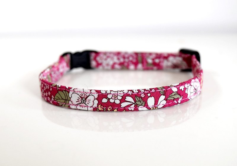 Rose Pink petit floral Adjutable Breakaway Safety Cat Collar