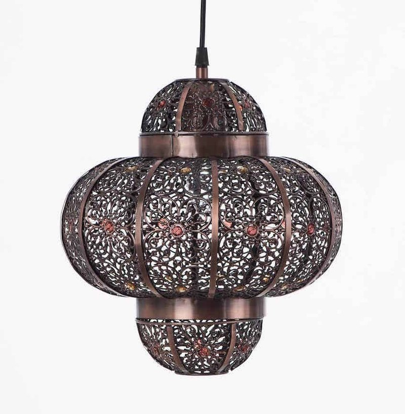 Red copper brushed black Moroccan chandelier
