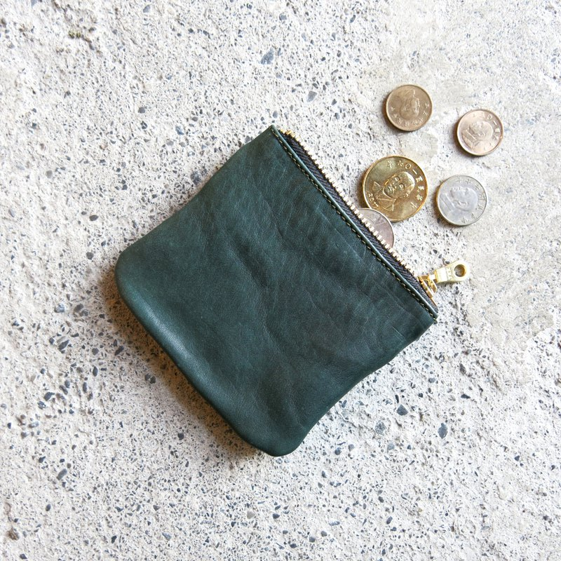 Thin leather coin purse - malachite green vegetable tanned leather change, cards are loaded in [LBT Pro]