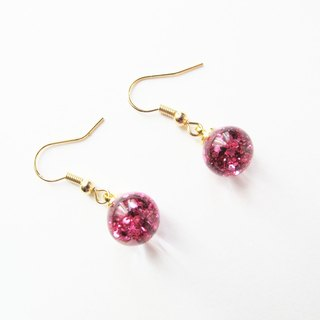 Rosy Garden  Pink glitter water inside glass ball earrings