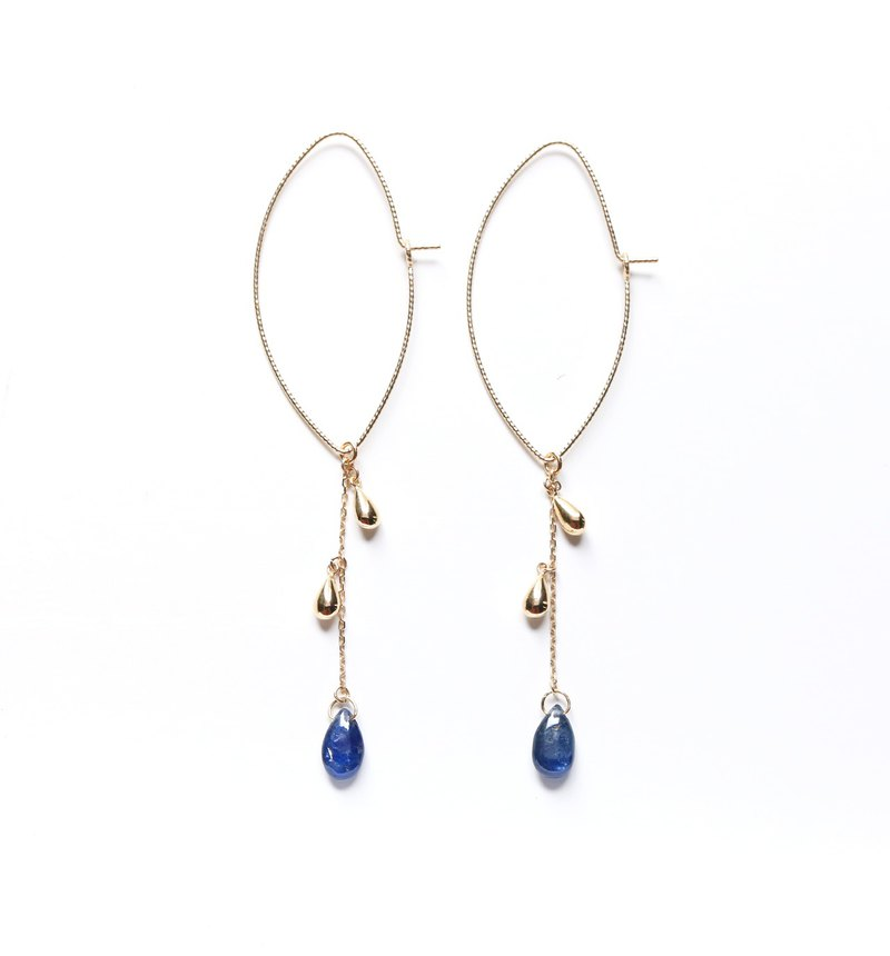K10 Blue Sapphire (Flat Drop) Marquise Earrings