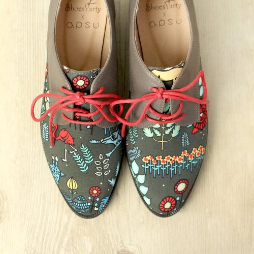 [24.0] Spot Shoes Party Picasso fell into the gray forest Patchwork Derby shoes / shoes / handmade custom / Japan fabric