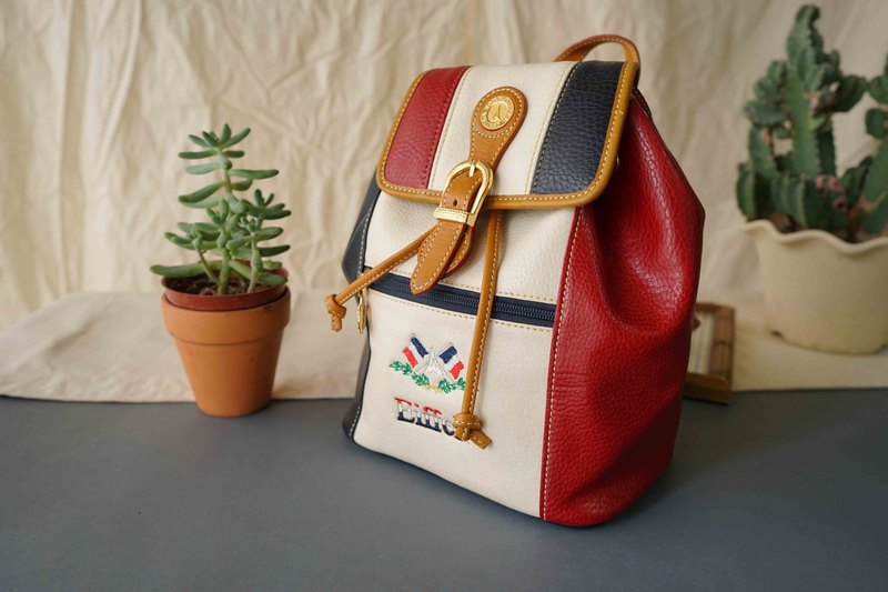 Japanese Treasure Hunting Antique Bag - La Tour Eiffel French Red White Blue Leather Backpack
