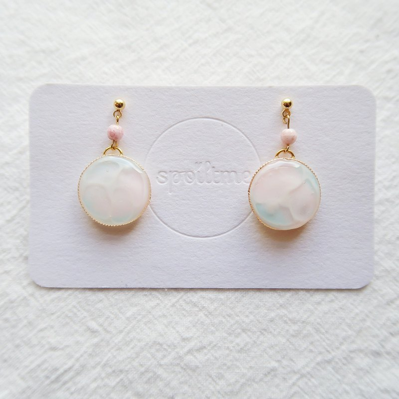 Baby pink and blue ocean earrings