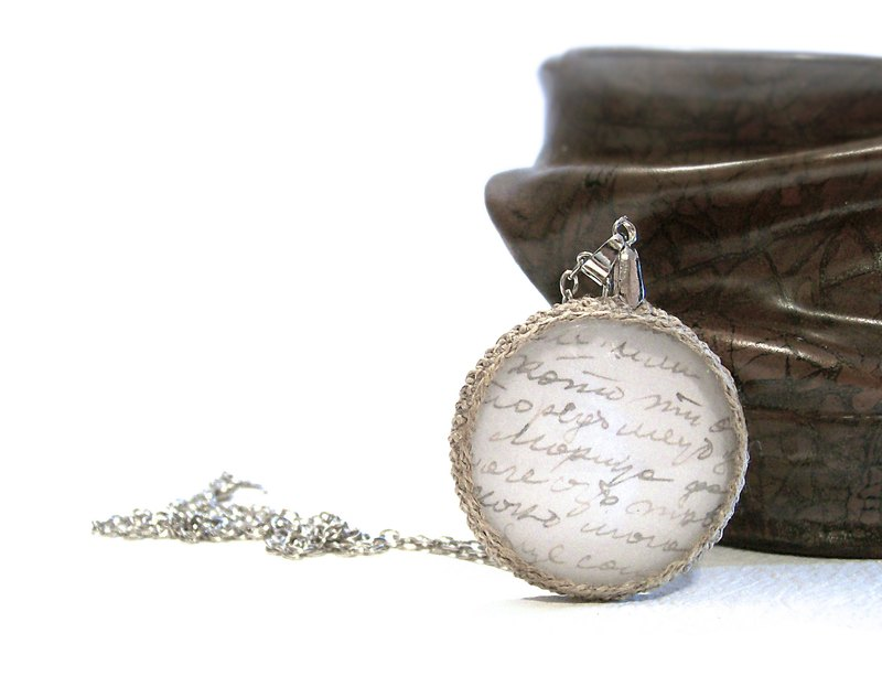 Vintage Style Necklace Authentic Script Pendant