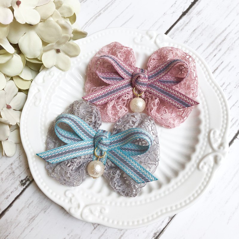 Lace round bow hair clip