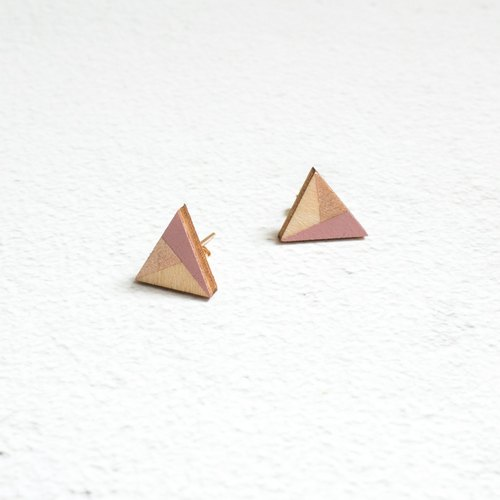 Wooden Earrings Gold Plated Stud Earrings Geometric Hand Drawn Triangle Handmade Earrings Gift Gift