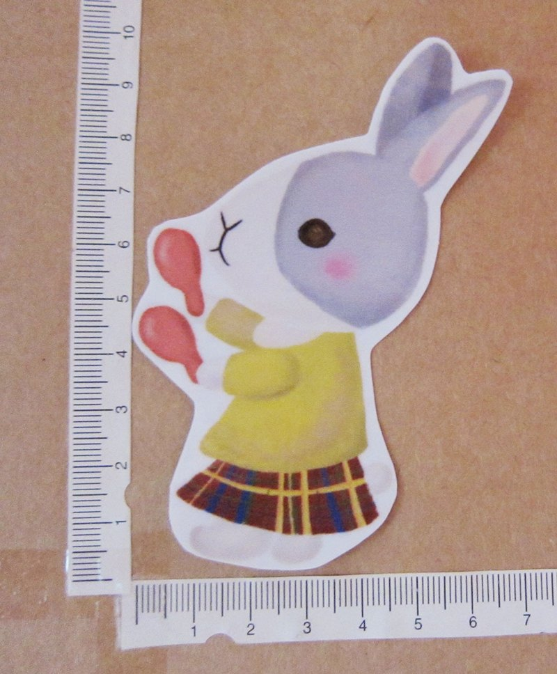 Hand-painted illustration style completely waterproof sticker Rabbit Band Gray Dodge Rabbit Instrument Rattle Bell