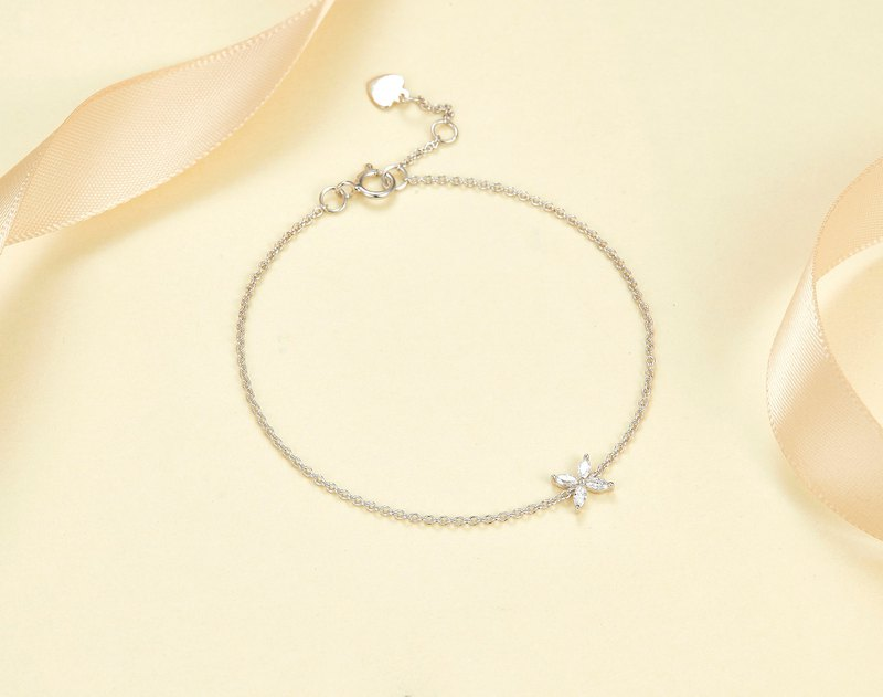 18k White Gold Marquise Diamond Bracelet, Minimal and Classic Jewelry B007