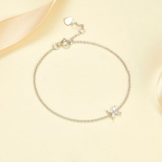 【PurpleMay Jewellery】18k White Gold Marquise Diamond Bracelet B007