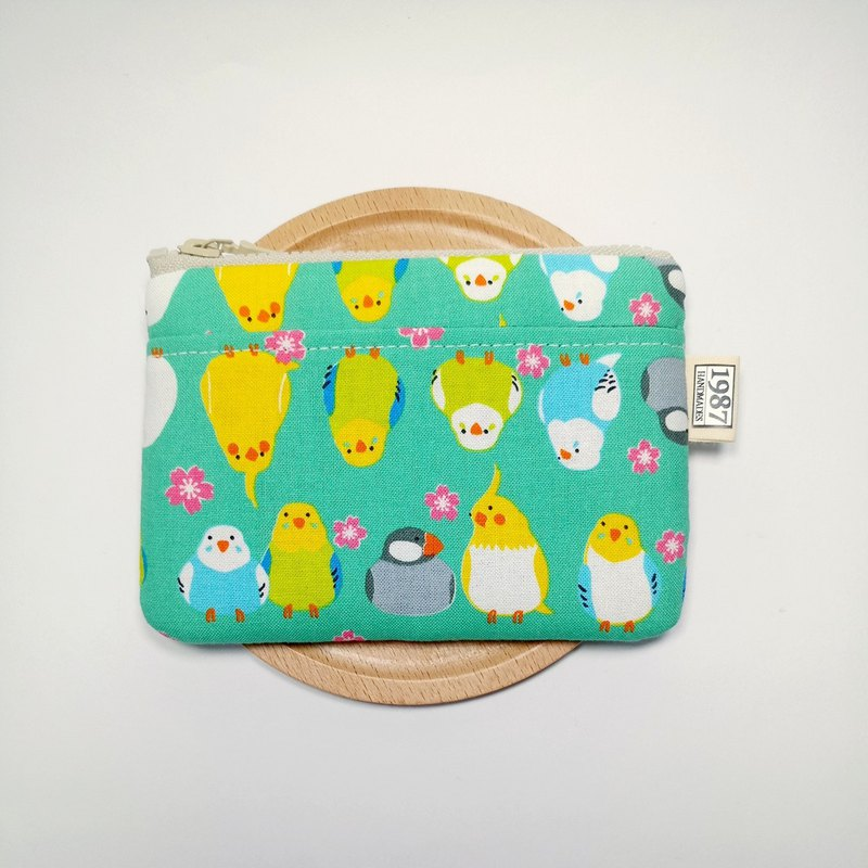 [Happy Parrot - Green] Coin Purse Clutch Bag with Zipper Bag