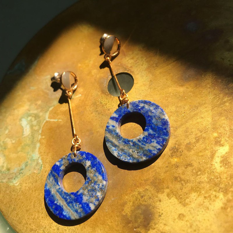 [Lost and find] natural stone lapis lazuli round star pendant earrings