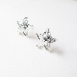*Rosy Garden*Silver colour Star resin earrings