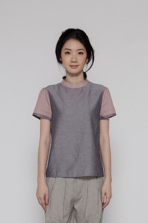 Caprice inspiration gloss blended collar shirt One Fine Reverie Top Grey