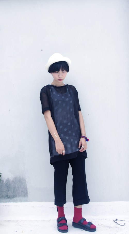 4.5studio- independent hand-made by FU- Op big black dot chiffon short-sleeved T Long
