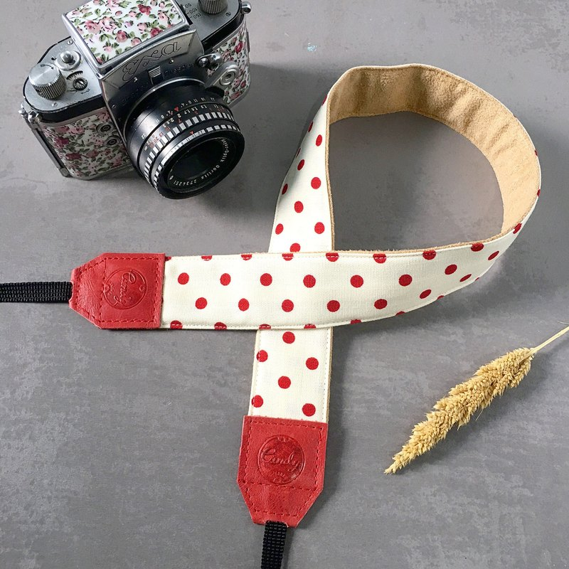 White Red Polkadot Camera Strap , DSLR or Mirrorless Camera Strap