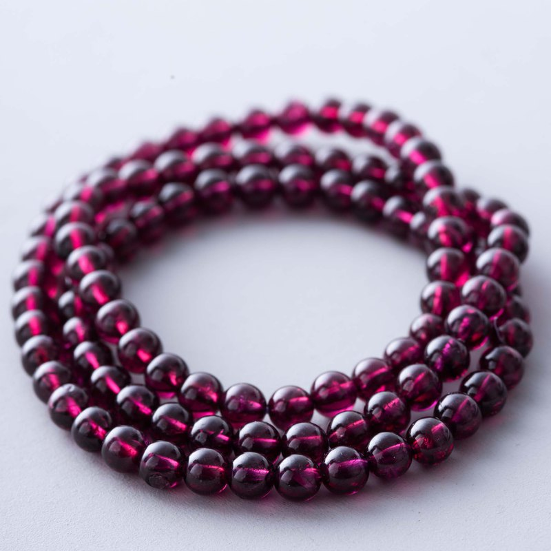 6mm AAA Red Garnet Natural Gemstone Crystal Stack Bracelet