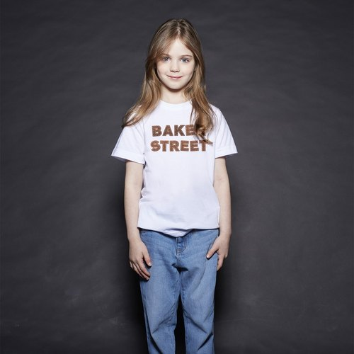 British Fashion Brand [Baker Street] Leather Letters Printed T-shirt for Kids