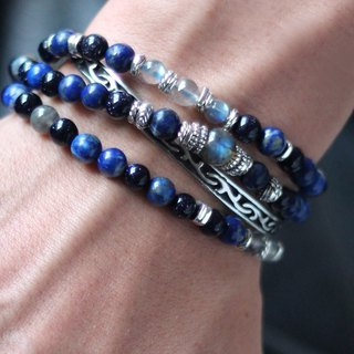 Viv Exclusive order shadow aurora Dark Aura. Double chain design silver buckle + steel line natural ore rosary bracelet lapis lazuli labradorite 925 sterling silver