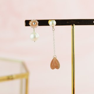 Sakura rain freshwater pearl sterling silver earrings ear clip
