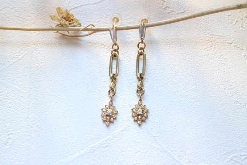 The sun-Brass zircon earrings