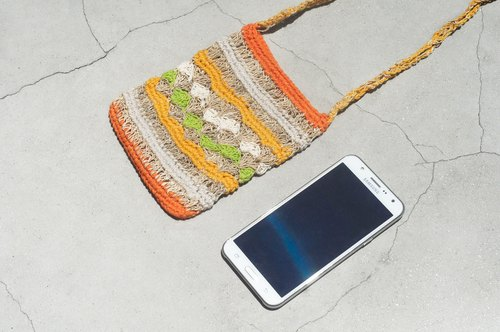 Limited edition of a natural hand-woven cotton and linen mobile phone bag / mobile phone sets / shoulder bag / packet / travel bag - colorful forest color
