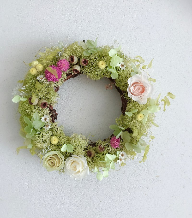 Non-withered garland / spring pink green