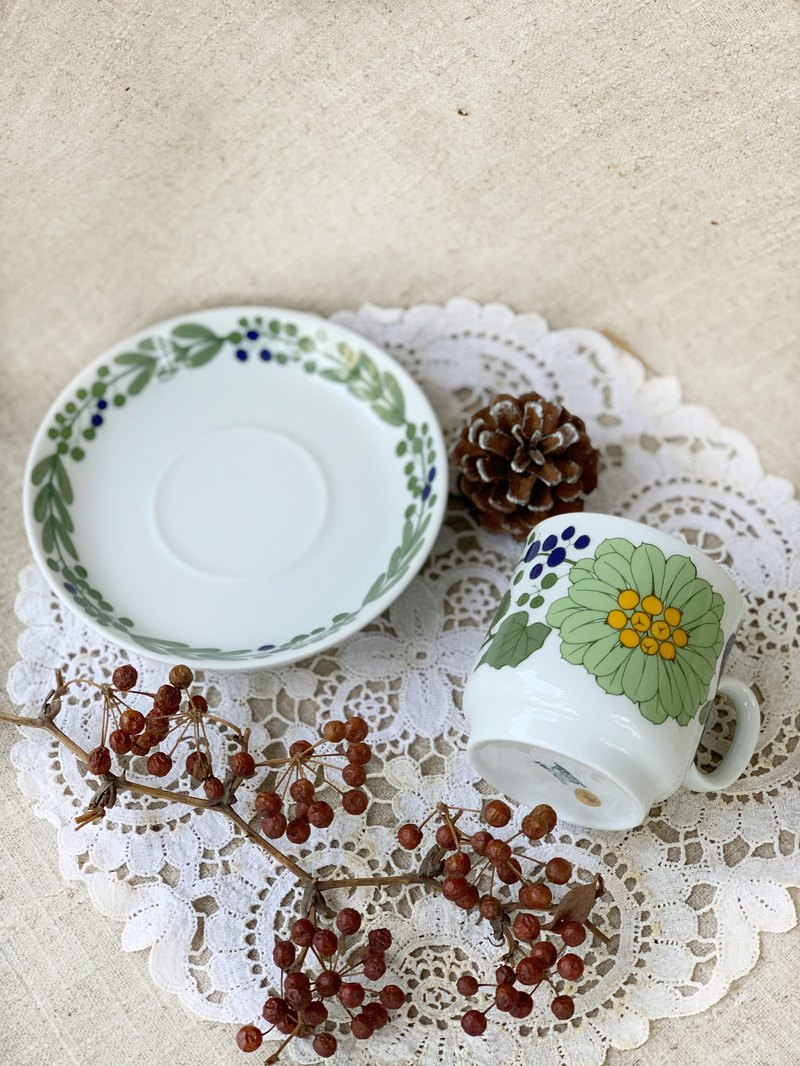 [Good day fetish] Germany vintage fruit flower mug plate set