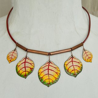 Jewelry, Necklace, Enamel, Statement Necklace, Forest, Enamel Necklace, Bib Necklace, Leaf, Leaves, Enamel Leaf, Enamel Jewelry, Alder Leaf Necklace, Leaf Necklace, Yellow and Green, Beige and Claret,