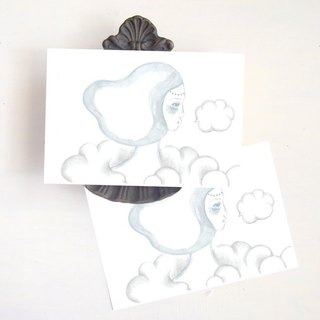 a girl with cloud : illustrated postcard
