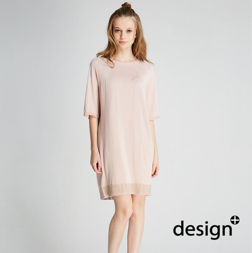 Ball round neck knitting dress (1701KD01PK-F)