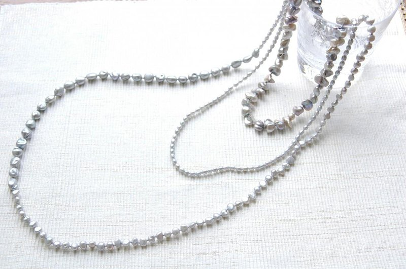 4 kinds of gray pearl long necklace 2