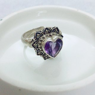 Amethyst in Heart shape Ring Handmade in Nepal 92.5% Silver
