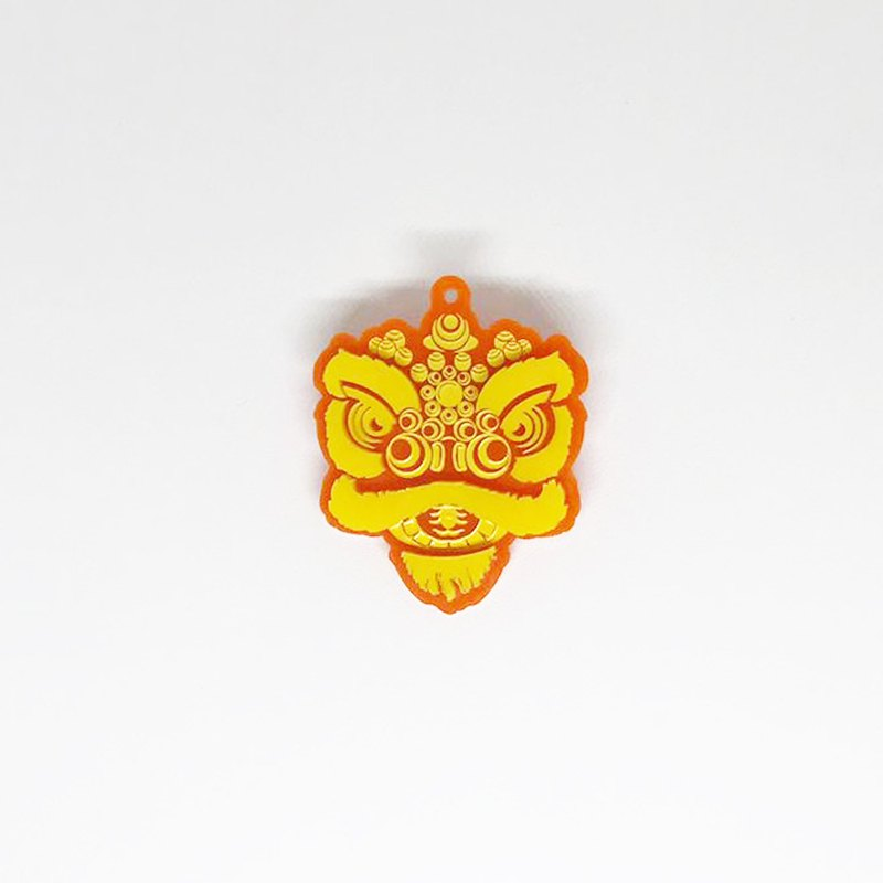 Lions House Orange Yellow Lion Head Brooch