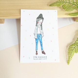 ✦Pista Hill Illustrated Postcard ✦ Enjoy every moment in your life