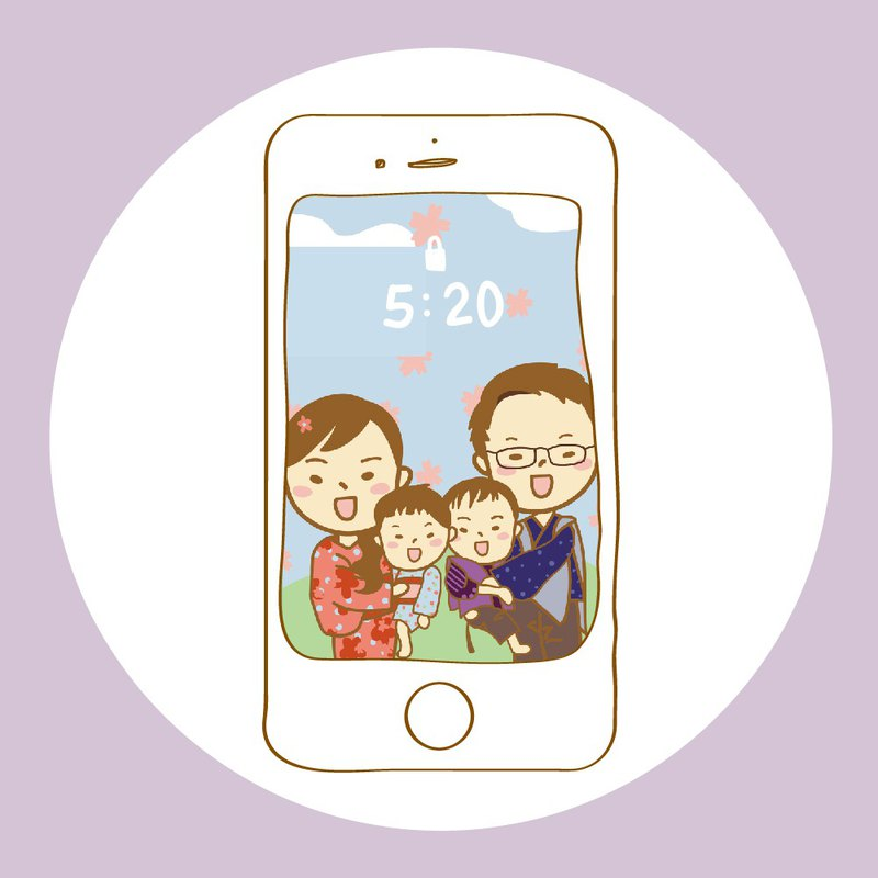 Family portrait custom hand-painted Q version mobile phone wallpaper