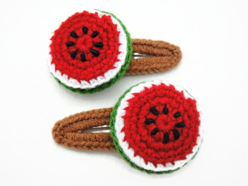 Crochet Snap Clip Hair Clip Accessories - Watermelon Fruit