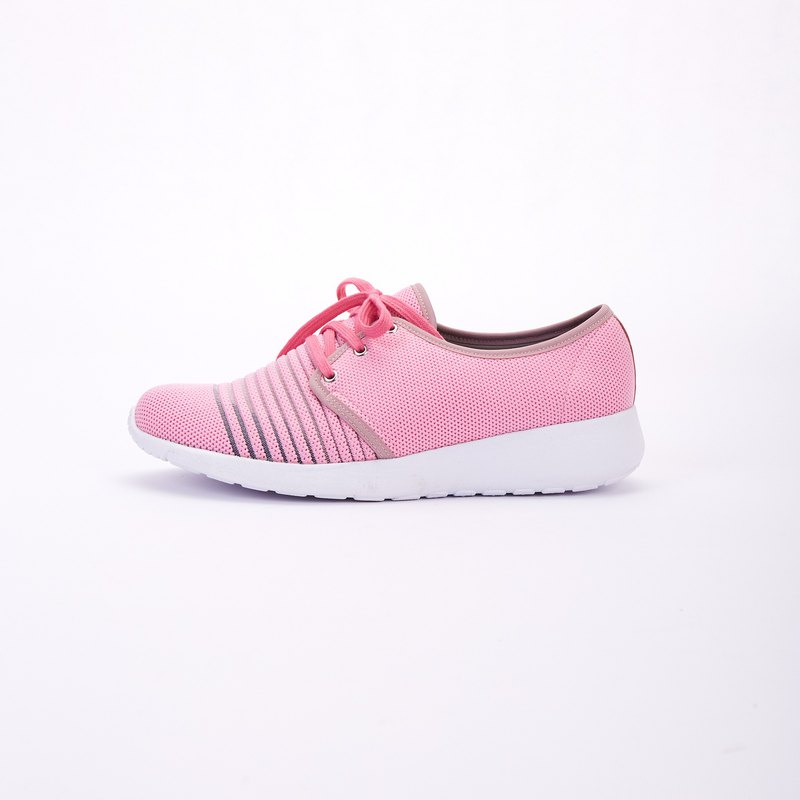 Large size women's shoes 41-45 Taiwan made ultra lightweight memory insole strap casual sports shoes 3cm pink