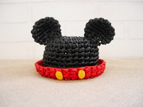 【MOKA】 woven straw hat Mickey style pet accessories