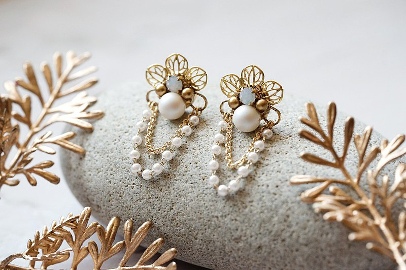 Motherhood - Vintage Flower Pearl Chain Earrings