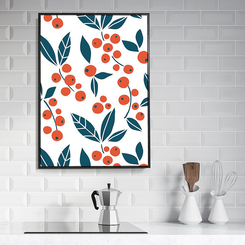 Cherry- Fresh, Wall Art, Home Decor, Wall Prints, Nordic Prints, Fruit Prints